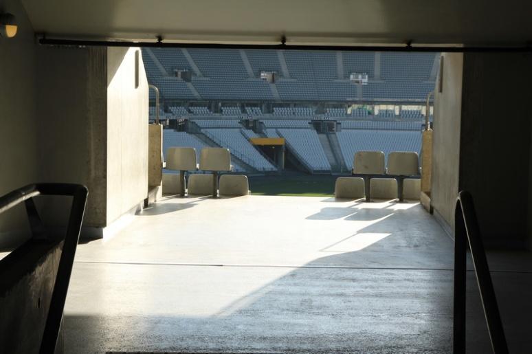 Saint-Denis. Le Stade de France vu depuis un couloir menant aux tribunes.