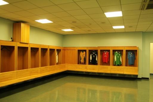 Saint-Denis. Stade de France. Le vestiaire des joueurs.