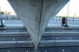 Saint-Denis. Un escalier d'accès au Stade de France.