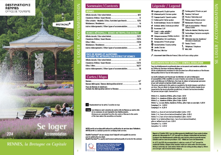 "Catalogue ""Se loger"" 2014 - Office du Tourisme de Rennes"