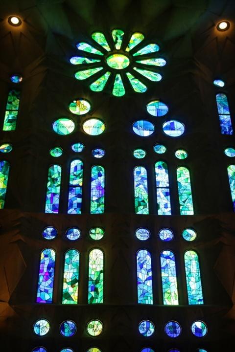 Vitraux dans la Sagrada Familia (Barcelone, Espagne)