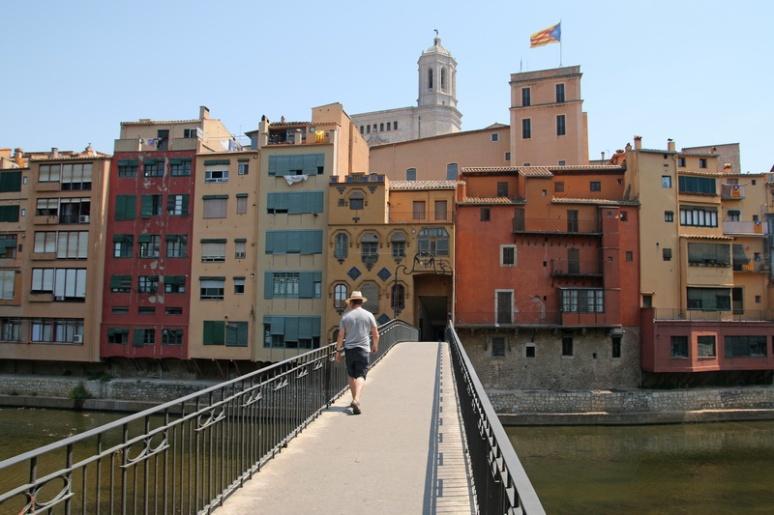 Gérone (Espagne). Pont d'En Gomez sur l'Onyar.