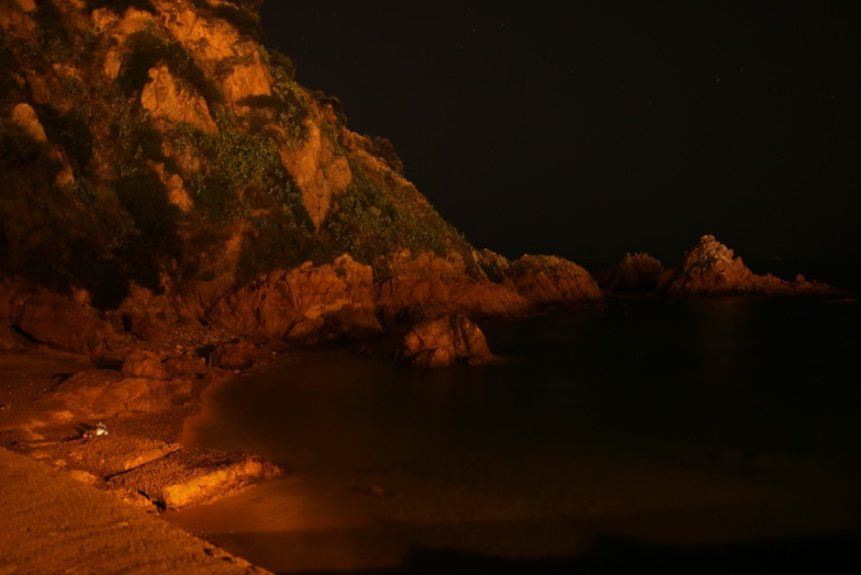 Nuit près du port de Blanes (Espagne).