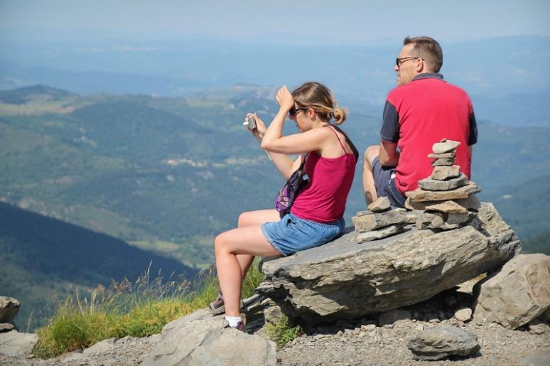 Au sommet du Mont Gerbier de Jonc (Ardèche).