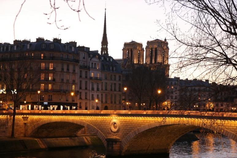La cathédrale Notre-Dame de Paris et le pont Louis Philippe.
