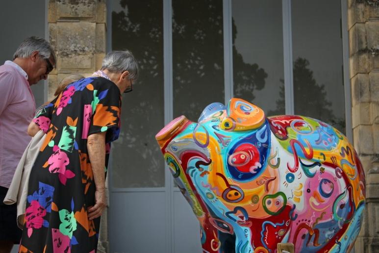 """Les cochons de l'exposition """"Pig Parade"""", au parc du Thabor (Rennes, Août 2015)"""