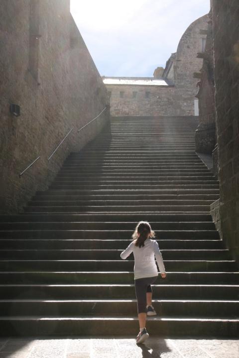 L'abbaye du Mont-Saint-Michel : L'escalier du Grand Degré.