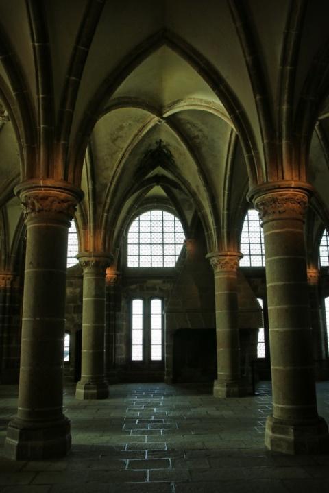 L'abbaye du Mont-Saint-Michel : La salle des Chevaliers.